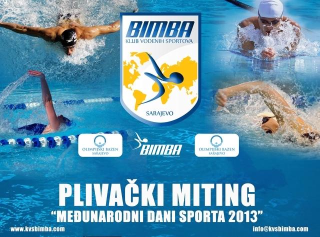 """Међунарнодни пливачки митинг у организацији КВС """"Бимба"""" из Сарајева, и линк на њихову матичну страницу"""